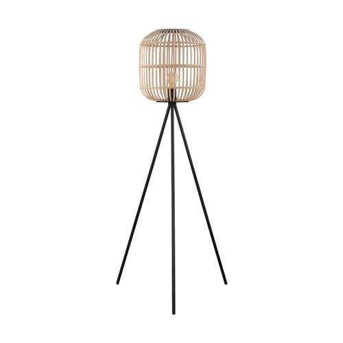 Bordesley Natural Wood/Black Floor Lamp 43219