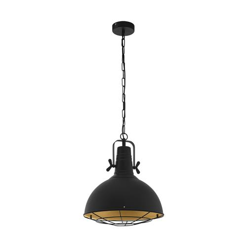 Cannington Black Steel/Gold Ceiling Pendant 49742
