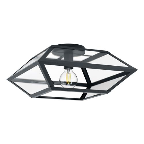 Casefabre Large Black Semi Flush Ceiling Light 98357