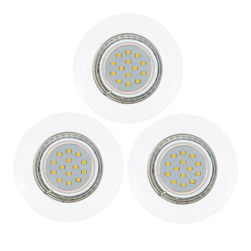 Peneto Pack Of 3 White Finish Fixed Recessed LED Downlights 94235