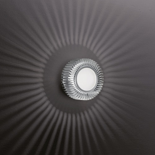 89119 Chiron Surface Mounted Light - Chiron flush wall/ceiling fitting. Finished in aluminium with an opal glass diffuser. The aluminium
