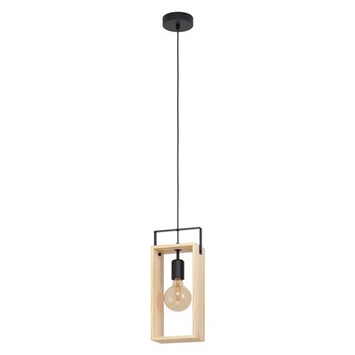 Famborough Pendant Natural Wood & Black 43413