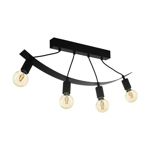 Labaretu Black Steel Four Light Curved Ceiling Fitting 99014