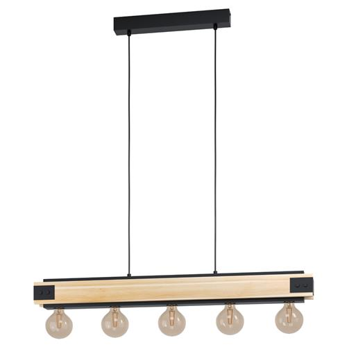 Layham Four Light Pendant Black/Natural 43468