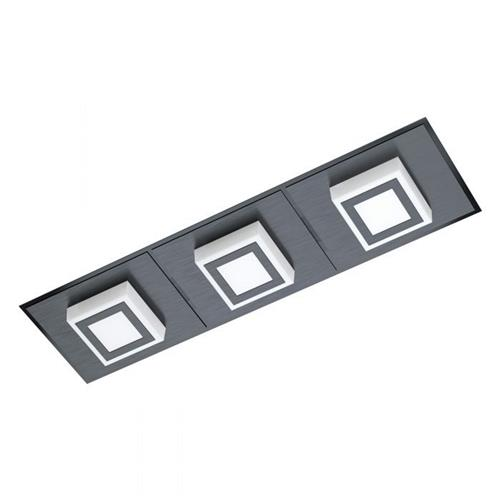 Masiano 1 LED Black Steel & White Triple Rectangular Fitting 99363
