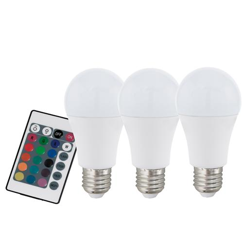 Pack Of Three 7.5W LED ES RGB+W Dimmable GLS Lamps 10681