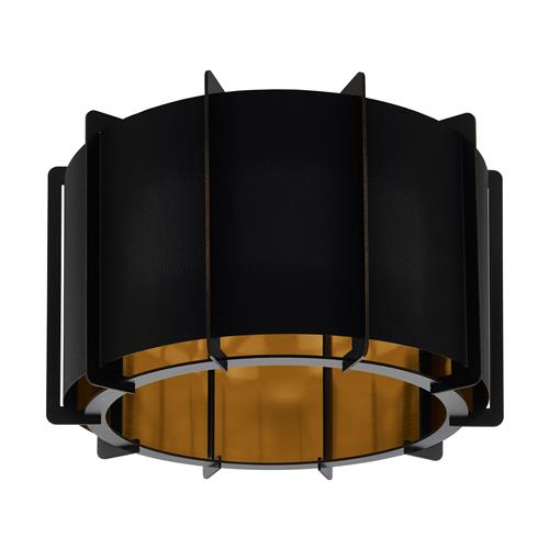 Pineta Black Steel/Wood Black/Gold Semi Flush Ceiling Light 98339