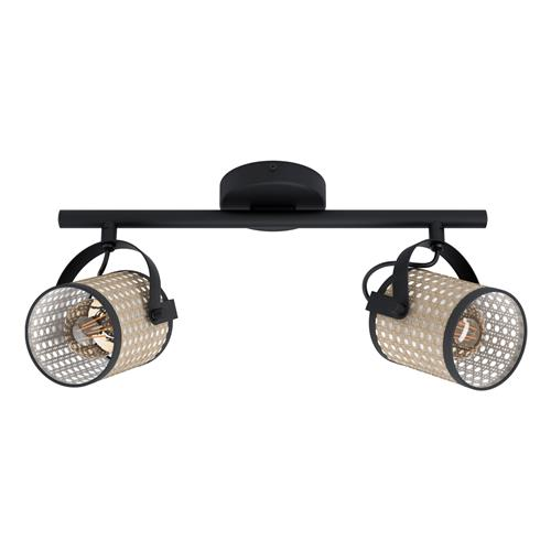 Ruscomb Black & Narural Two Light Ceiling Fitting 43494