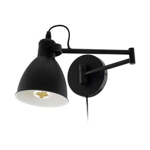 San Peri Black Adjustable Plug In Wall Light 97886 The Lighting