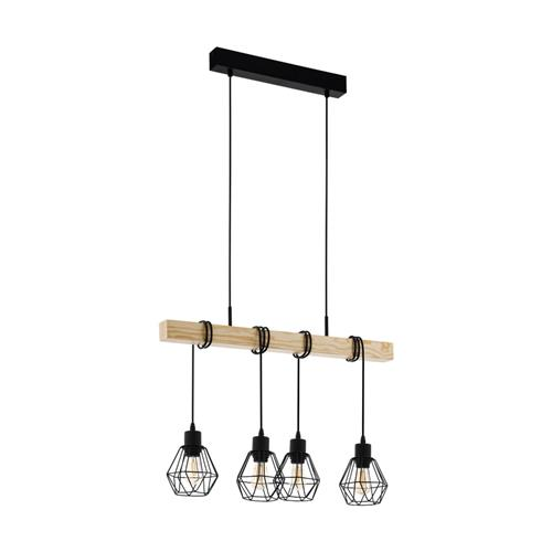 Townshend 5 Ceiling Pendant Oak/Black Four Light 43132