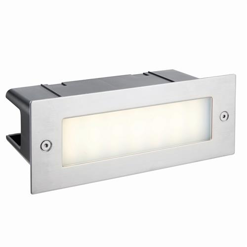 Seina Plain LED IP44 Stainless Steel Brick Light 78637