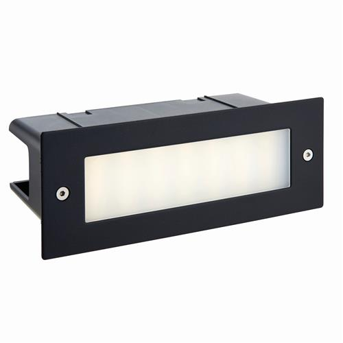 Seina Plain LED IP44 Textured Black Brick Light 78638