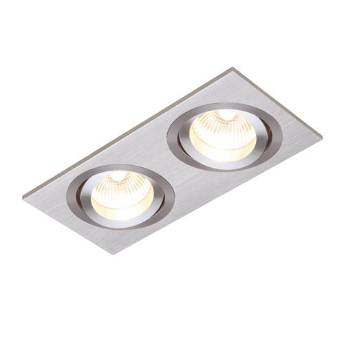 Tetra Twin Recess Brushed Silver Downlight 52404