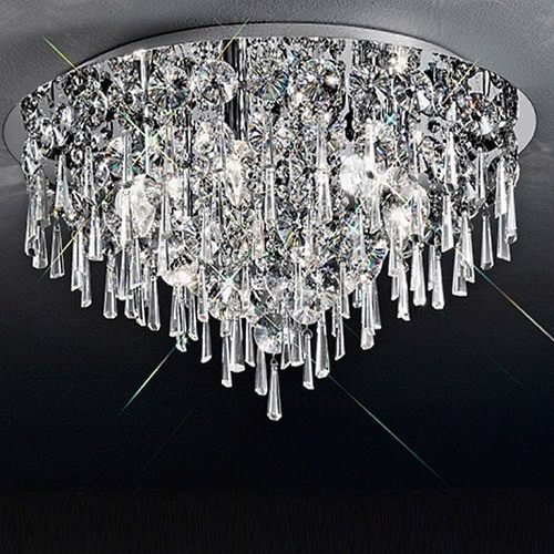 Jazzy Large Flush Crystal Ceiling Light Cf5718 The