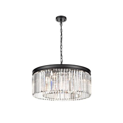 Dayana Eight Light Matt Black Crystal Ceiling Pendant TP2431-8