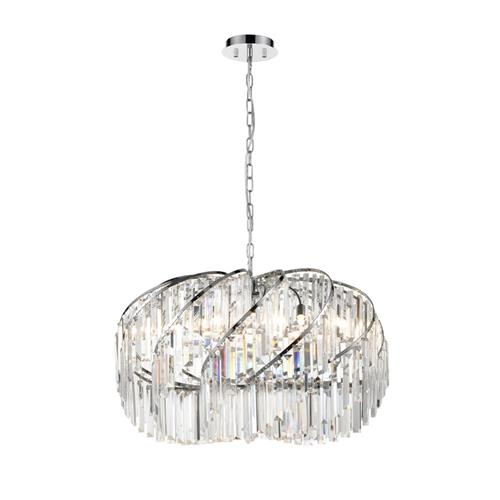 Deepika Ten Light Crystal & Chrome Ceiling Pendant TP2421-10