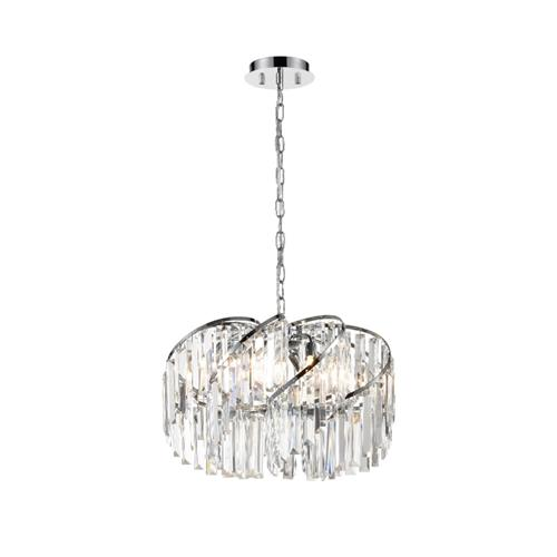 Deepika Eight Light Crystal & Chrome Ceiling Pendant TP2421-8