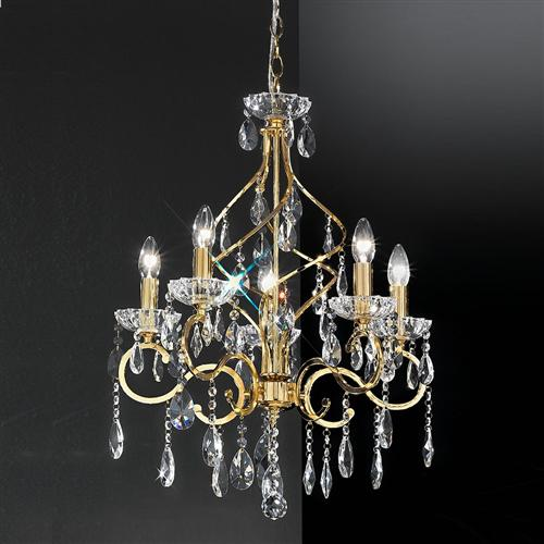 Chiffon 5 Arm Crystal Chandelier Gold Fl2159/5