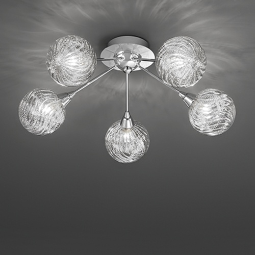 Paola 5 Arm Polished Chrome Semi Flush Light TP2329/5