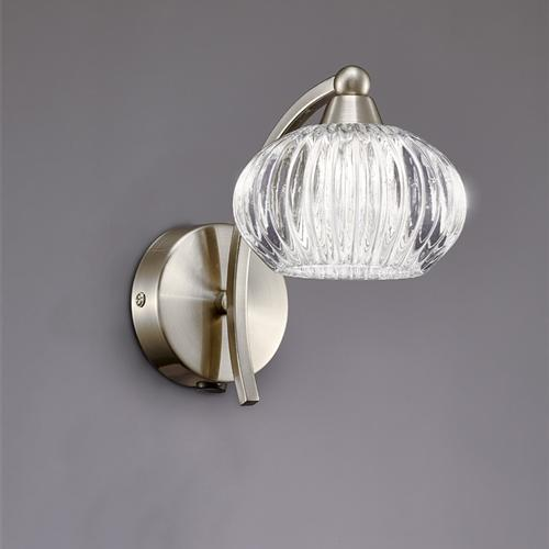 Ripple Satin Nickel Single Switched Wall Light Fl2335/1