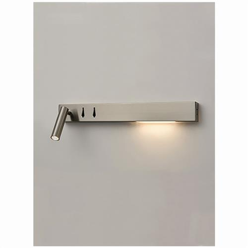 LED USB Left Sided Satin Nickel Wall Reading Light QF180