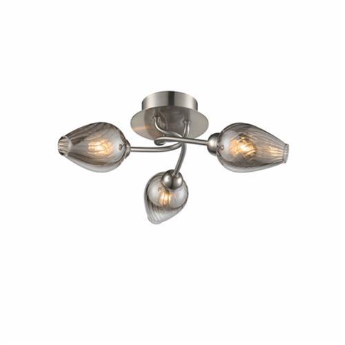 Pamala Swirled Satin Nickel Smoked Glass Semi Flus The Lighting Superstore