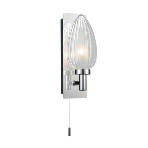 Pattie Glass Single Switched LED Bathroom Wall Light QF100