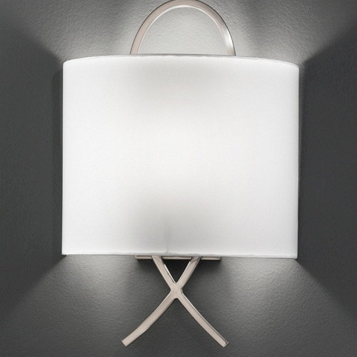 Franklite Cross Wall LIght - Modern satin nickel single wall light finished with a off white fabric half shade.