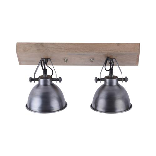 Samia Chrome/Wood Double Ceiling Spot Light 11982-77