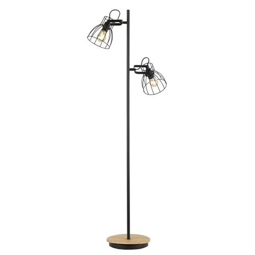 Fearby Matt Black And Wood Double Floor Lamp FH1050