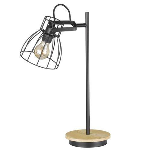 Fearby Matt Black And Wood Table Lamp FH1046