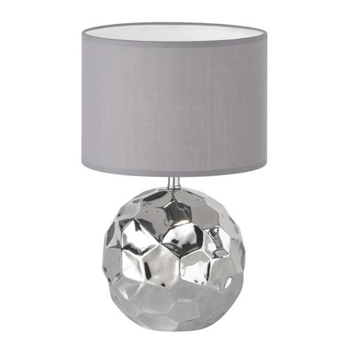 Golford Ceramic Shiny Silver Table Lamp With Grey Shade FH1365