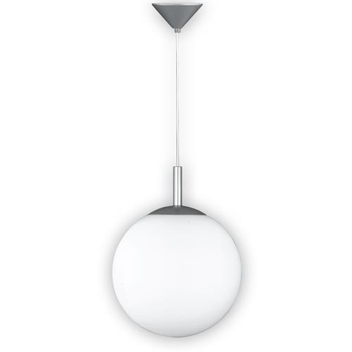 Grateley Aluminium Finished White Glass Pendant FH1387