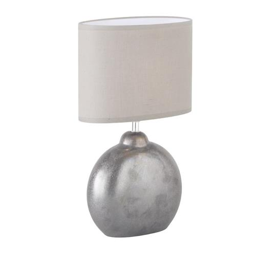 Carlton Ceramic Grey Table Lamp With Light Grey Shade FH1430