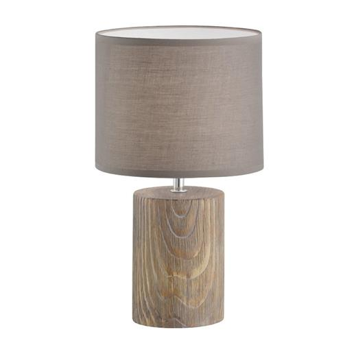Malik Ceramic Wood Effect Table Lamp With Light Grey 50247