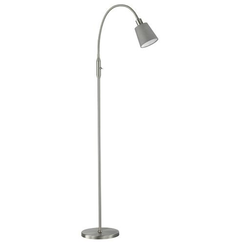 Falmer Matt Nickel Floor Lamp With Grey Shade FH0848