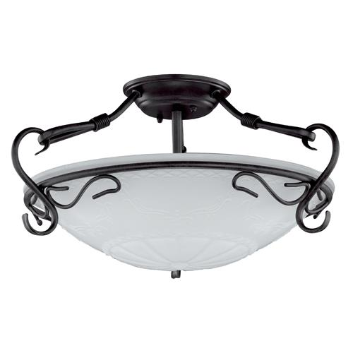Fixby 3 Light Semi-Flush Rust Coloured Ceiling Fittting FH1124