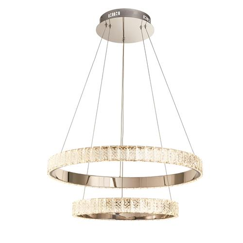 Bayleigh LED Clear Crystal/Chrome Double Ceiling Pendant 17870-69