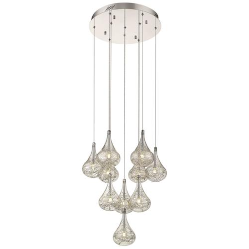 Belen Chrome/Glass Pear Shaped Ten Light Ceiling Pendant 045CH10
