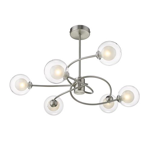 Daryon Satin Nickel 6 Light Ceiling Fitting 070SN6S