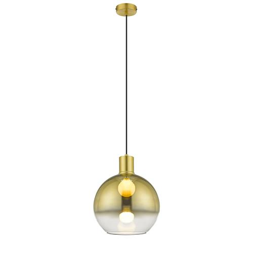 Dava Gold Coloured And Smoked Glass Pendant Light 030GD1P