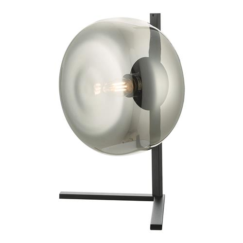 Erla Black Table Lamp With Smoked Glass Shade ERL4110