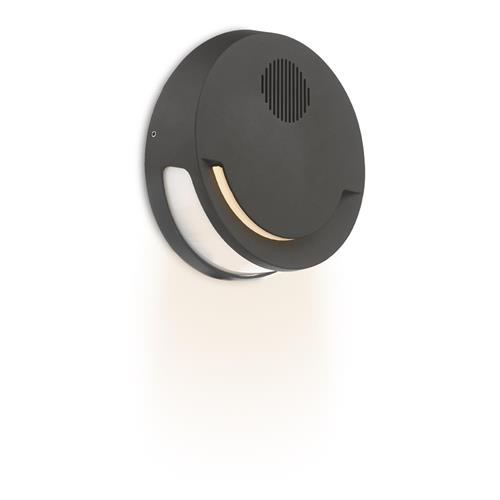 Euba Dark Grey Outdoor Led Wall Light, Outdoor Wall Light With Bluetooth Speaker