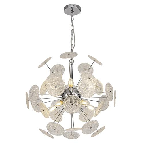 Hajime 10 Light Chrome and Glass Ceiling Pendant ALA7315