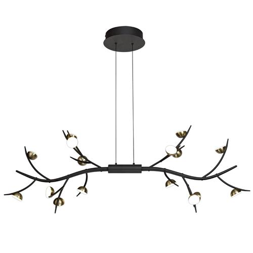 Halden 16 Light Black & Antique Brass LED Pendant KUD7179