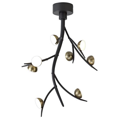 Halden 8 Light Black & Antique Brass LED Ceiling Fitting KUD7180