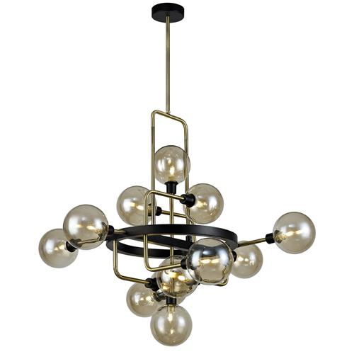 Hanley 12 Light Black and Antique Brass Pendant DEL7732