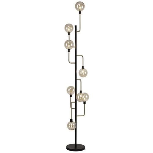 Hanley 8 Light Black and Antique Brass Floor Lamp DEL7735