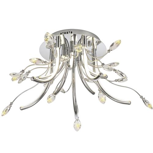 Heddwyn 10 Light LED & Crystal Chrome Semi-Flush CAT7166