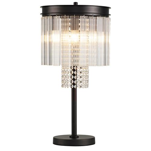 Herschel Brown Oxide 6 Light Glass & Crystal Table Lamp BOY7681